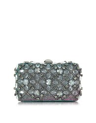 Rodo Iridescent Lurex Tresor Clutch W Crystals And Chains Turquoise