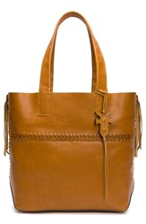 Frye Carson Whipstitch Calfskin Leather Tote Brown Caramel
