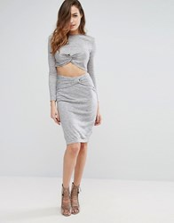Kendall Kylie Knotted Pencil Skirt Lt Heather Grey
