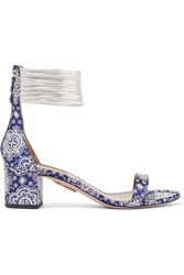 Aquazzura Spin Me Around Leather Trimmed Printed Twill Sandals Blue