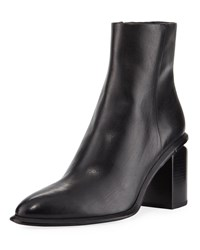Alexander Wang Anna Block Heel Leather Booties Rose Tone Hardware Black