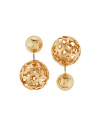 Lydell Nyc Golden Ball Front Back Stud Earrings Women's