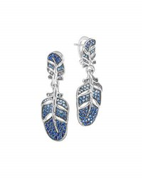 John Hardy Silver Feather Lava Sapphire Gradient Drop Earrings Blue