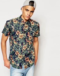 Jack And Jones Jack And Jones Short Sleeve Shirt With All Over Floral Print Blue Boss