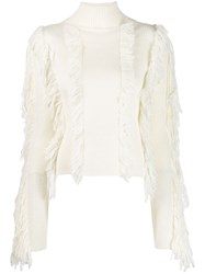 David Koma Fringed Fitted Sweater White
