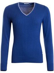 Green Lamb Brid Cable Sweater Royal Blue