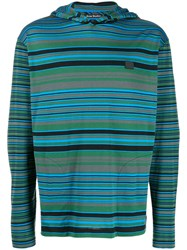Acne Studios Striped Long Sleeved Hoodie Green
