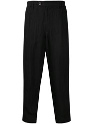 Ziggy Chen Creased Loose Fit Trousers Black