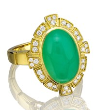 Boodles Keystone Chrysoprase Diamond Ring Female Yellow Gold