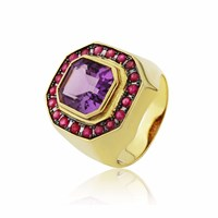 Maiko Nagayama Amethyst Square Ring Red Gold Pink