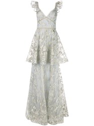 Marchesa Notte Floral Sleeveless Dress Neutrals