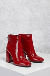 Forever 21 Faux Patent Leather Ankle Boots Red