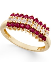 Macy's Ruby 9 10 Ct. T.W. And White Sapphire 1 3 Ct. T.W. Ring In 10K Gold Red