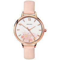 Sekonda 2624.27 'S Floral Faux Leather Strap Watch Pale Pink White
