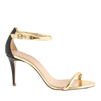 J.Crew Mixed Leather Strappy High Heel Sandals Metallic Gold