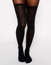 Gipsy Mock Ribbed Over The Knee Tights Petrolblue