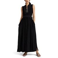Cedric Charlier Pleated Crepe Maxi Dress Black