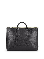 Uri Minkoff Devin Crocodile Embossed Leather Tote Black