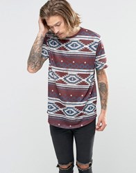 Asos Longline T Shirt In Linen Look With All Over Aztec Print Oxblood Red