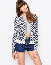 Only Diamond Print Cardigan Blue And Ethnic Tape