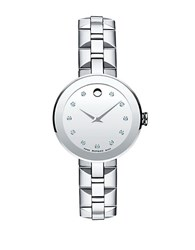 Movado Ladies Sapphire Stainless Steel And Diamond Watch Silver