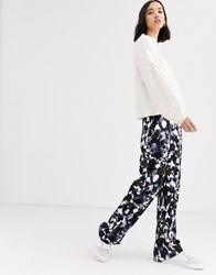 Native Youth Wide Leg Trousers In Abstract Smudge Print Multi