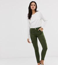River Island Amelie Utility Jeans In Khaki Green