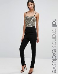Maya Tall Basque Detail Embellished Tailored Jumpsuit Black Gold