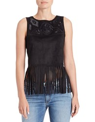 Buffalo David Bitton Embroidered Faux Suede Top Black