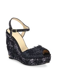 Jimmy Choo Perla 120 Embroidered Raffia Glitter And Leather Wedge Sandals Black Anthracite Light Mocha