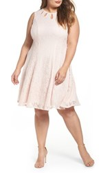 Gabby Skye Plus Size Women's Lace Teardrop Cutout Fit And Flare Dress Pink Pink