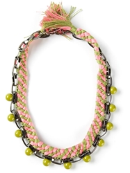 Joomi Lim Beaded Woven Chain Necklace Green