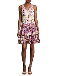 Maggy London Floral Zippered Dress White Coral