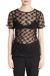 Comme Des Garcons Women's Tricot Embroidered Tulle Top