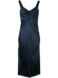 Helmut Lang Ruched Bustier Slip Dress Women Silk Cotton Polyamide Viscose L Blue