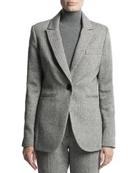 Pink Tartan Herringbone Fleet Jacket Grey