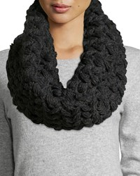 Neiman Marcus Floral Chunky Knit Infinity Scarf Charcoal Grey
