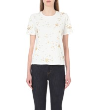 Maje Terence Embroidered Cotton Jersey T Shirt Ecru