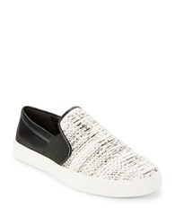 Karl Lagerfeld Elisha Leather Colorblocked Slip On Sneakers White Black