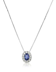 Incanto Royale Diamond And Sapphire Round 18K Gold Pendant Necklace Silver