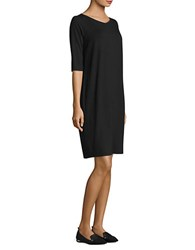 Eileen Fisher Three Quarter Sleeve Shift Dress Black