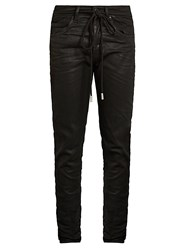 Off White Spray Paint Print Slim Fit Jeans Black