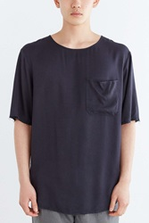 Your Neighbors Raw Edge Droopy Woven Tee Black