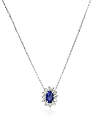 Incanto Royale Diamond And Sapphire Drop 18K Gold Necklace Silver