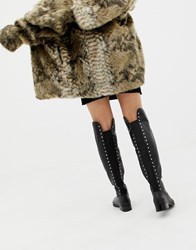 Aldo Jereicia Stud Leather Over The Knee Boots Black Leather
