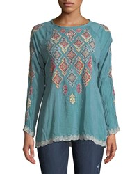 Johnny Was Kikumi Embroidered Long Sleeve Blouse Plus Size Steam Blue