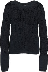 Amanda Wakeley Crocheted Open Knit Cotton Blend Sweater Black