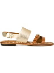 Tod's Slingback Flat Sandals Brown
