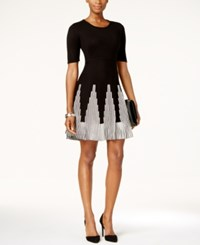 Sandra Darren Petite Fit And Flare Sweater Dress Black White