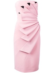 Capucci Pleated Strapless Dress Pink And Purple